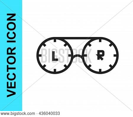 Black Line Contact Lens Container Icon Isolated On White Background. Eyesight Care, Lens Hygiene Con