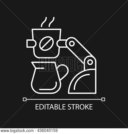 Coffee Making Robot White Linear Icon For Dark Theme. Robotic Barista. Automated Drinks Brewing. Thi