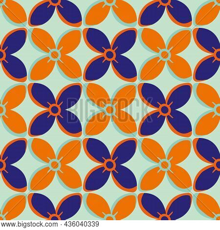 Simple Medieval Style Stylized Flowers Vector Pattern Background. Hand Drawn Neon Indigo Orange Flor