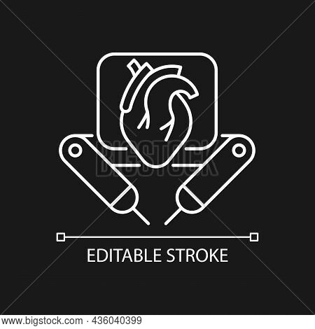 Surgical Robot White Linear Icon For Dark Theme. Remote Manipulation. Robotic-assisted Procedure. Th