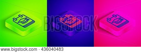 Isometric Line Online Education And Graduation Icon Isolated On Green, Blue And Pink Background. Onl