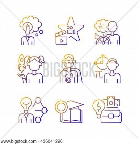 Vocation Gradient Linear Vector Icons Set. Professional And Educational Abilities. Networking And En
