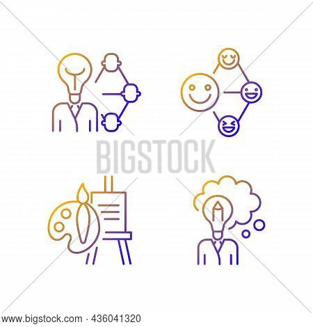 Creative And Professional Talents Gradient Linear Vector Icons Set. Networking Talent. Leadership An