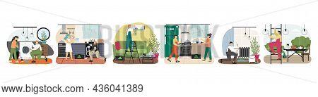 Plumber, Electrician, Repairman, Home Appliance Repair Technician Character Set, Vector Illustration