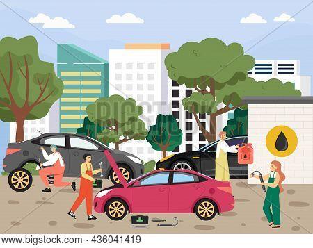 Auto Service, Wheel Change, Car Repair And Maintenance Service, Flat Vector Illustration.