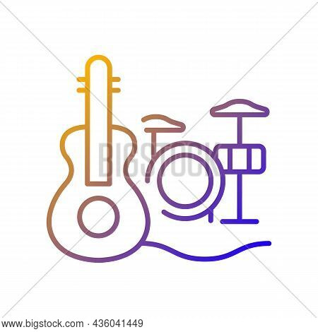 Musical Talent Gradient Linear Vector Icon. Playing Musical Instruments. Gifted Musician. Classical