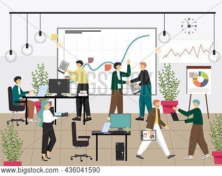 Business Partners Shaking Hands, Flat Vector Illustration. Team Work, Business Deal, Handshake, Agre