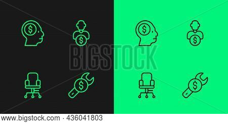 Set Line Repair Price, Office Chair, Business Man Planning Mind And Investor Icon. Vector