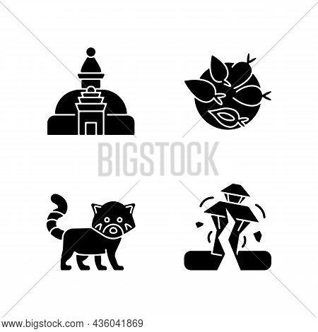 Tourism In Nepal Black Glyph Icons Set On White Space. Swayambhu Stupa. Nepalese Cuisine. Red Panda.