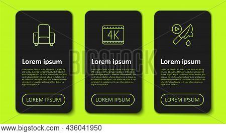 Set Line Cinema Chair, 4k Movie And Thriller. Business Infographic Template. Vector