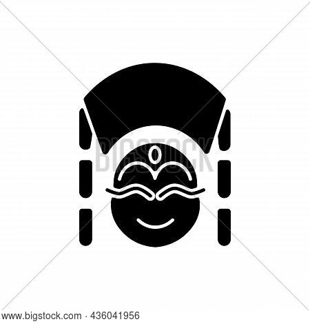 Kumari Black Glyph Icon. Living Hindu Goddess Worshipped By Buddhists. Girl In Traditional Clothes F