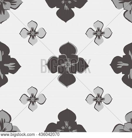 Medieval Rose Vector Pattern Seamless Background. Azulejo Tile Style Grey, Black, White Backdrop Of