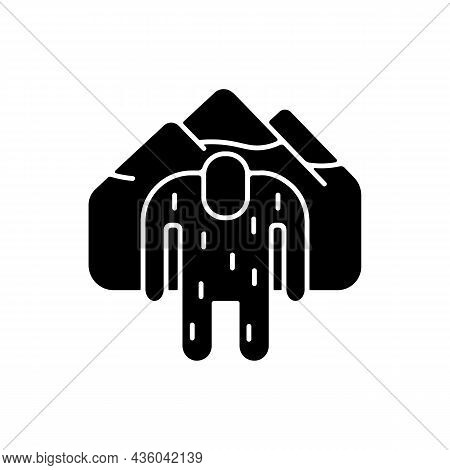 Yeti Black Glyph Icon. Mysterious Ape-like Creature. Nepali Folklore. Abominable Snowman Living In H
