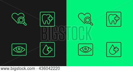 Set Line Blood Test, Red Eye Effect, Medical Heart Inspection And Dental Clinic Location Icon. Vecto