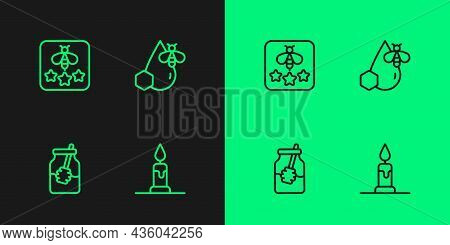 Set Line Burning Candle, Jar Of Honey Dipper Stick, Type Bee And Bee Honeycomb Icon. Vector