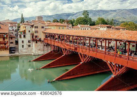 Bassano Del Grappa, Italy: 17th Wooden Century Bridge Ponte Vecchio, Built By Andrea Palladio In His