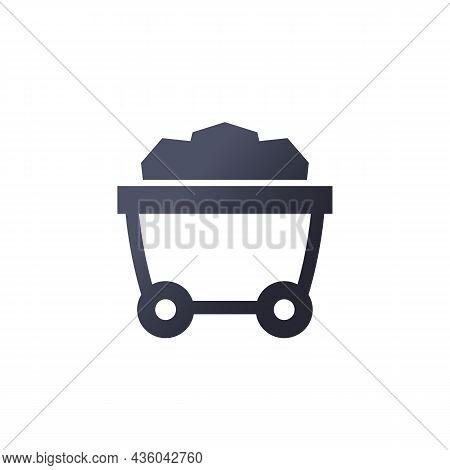 Coal Minecart, Mine Wagon Icon On White