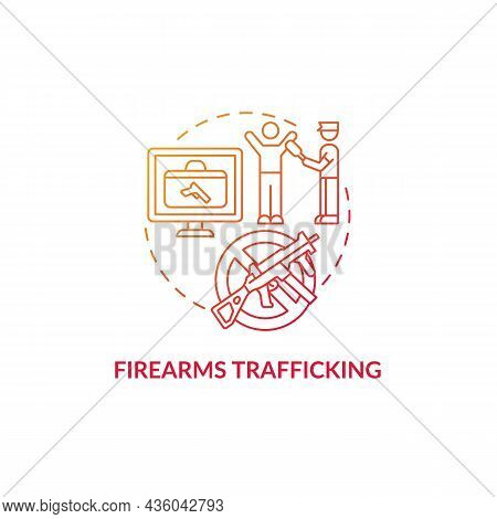 Firearms Trafficking Red Concept Icon. Security Guard Searching For Weapons. Arrest Smuggler. Deport