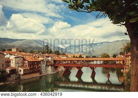 Bassano Del Grappa, Italy: Landscape With 17th Wooden Century Bridge Ponte Vecchio, Built By Andrea