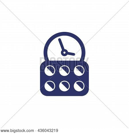 Medication Time Or Schedule Icon With Pills