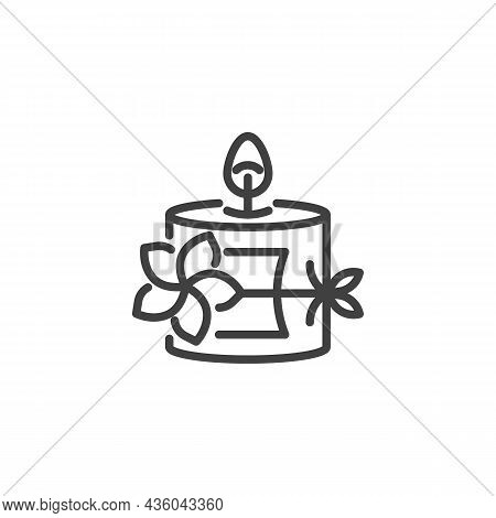 Spa Candle With Flower Line Icon. Linear Style Sign For Mobile Concept And Web Design. Scented Candl
