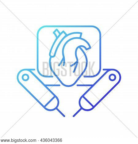 Surgical Robot Gradient Linear Vector Icon. Remote Manipulation By Surgeon. Robotic-assisted Surgica