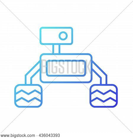 Space Exploration Robot Gradient Linear Vector Icon. Collect Sample For Examination. Robotic Vehicle