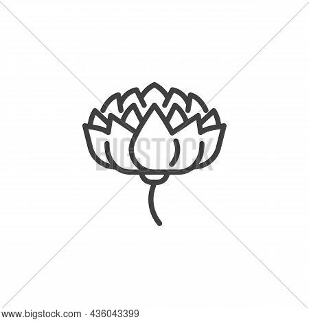 Lotus Flower Line Icon. Linear Style Sign For Mobile Concept And Web Design. Lotus Flower Petals Out