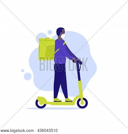 Courier On A Kick Scooter, Delivery Man Vector