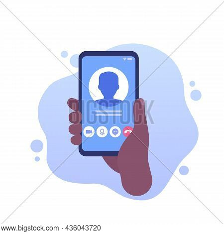 Video Call, Phone In Hand Vector Icon