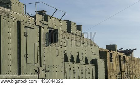 Armored Battle Train. Second World War. Armoured Train Displayed At The Exhibition Of The Railway Mu