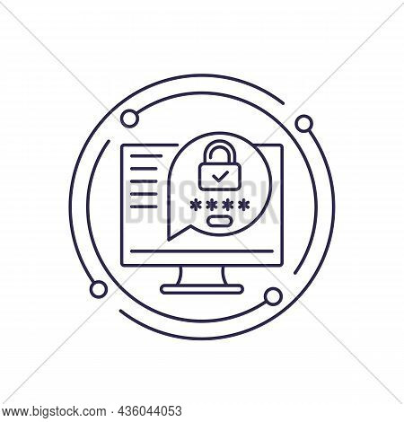 Password Protection, Safe Access Line Icon, Vector