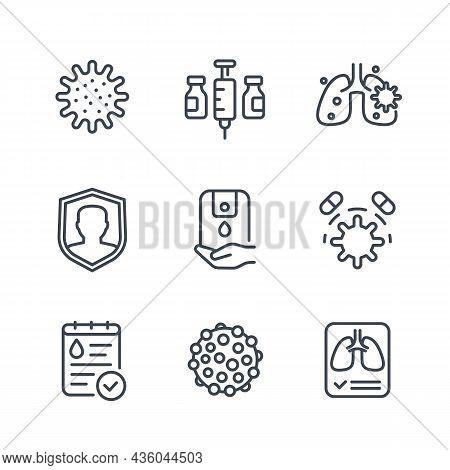 Virus, Covid 19 Or Coronavirus Line Icons Set