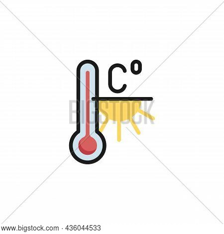 Heat Weather Temperature Filled Outline Icon, Celsius Meteorology Thermometer Line Vector Sign, Line