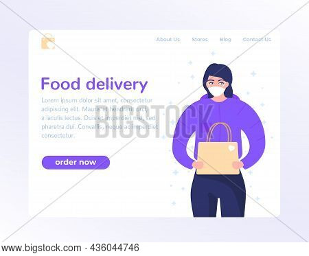 Food Delivery Landing Page Design With Courier