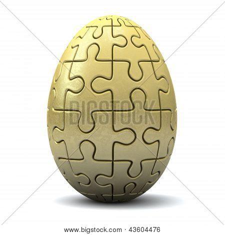 Golden puzzle Easter egg, 3d