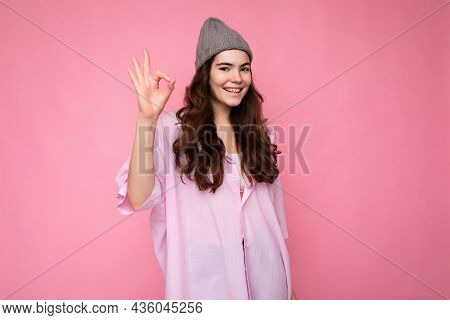 Photo Of Young Positive Happy Smiling Beautiful Woman With Sincere Emotions Wearing Stylish Clothes
