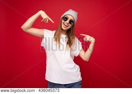 Portrait Of Young Emotional Positive Happy Joyful Beautiful Dark Blonde Woman With Sincere Emotions