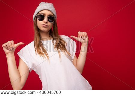 Photo Of Young Positive Cool Attractive Dark Blonde Woman With Sincere Emotions Wearing Casual White