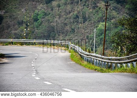 Beautiful Curvy National Highway With Steel Railing Protector, Lava ,kalimpong