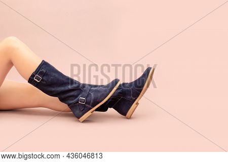 Stylish Dark Blue Long Autumn Winter Suede Boots Without Heels, With Flat Sole And Naked Caucasian W