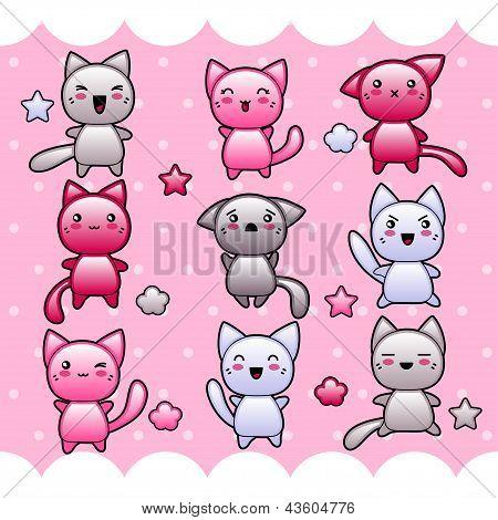 Card with cute kawaii doodle cats.