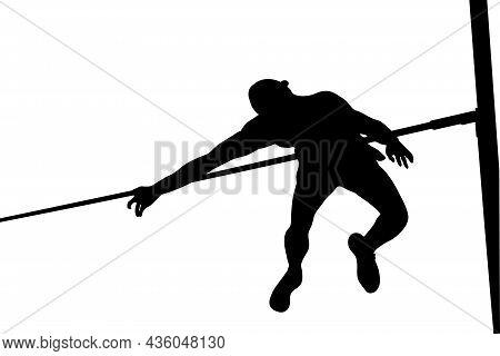Male Jumper Athlete High Jump Black Silhouette