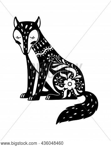 Forest Wolf Boho Style Black Decorated Isolated. Vector Tattoo Boho And Tribal Drawing Mammal, Black