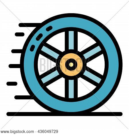 Car Wheel Icon. Outline Car Wheel Vector Icon Color Flat Isolated