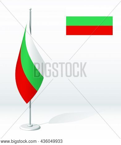 Bulgaria Flag On Flagpole For Registration Of Solemn Event, Meeting Foreign Guests. National Indepen