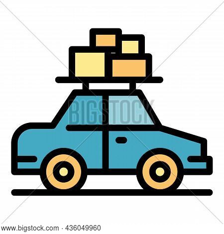 Car Roof Bags Icon. Outline Car Roof Bags Vector Icon Color Flat Isolated