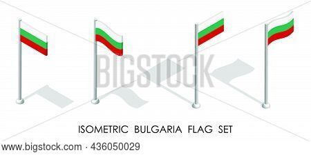 Isometric Flag Of Bulgaria In Static Position And In Motion On Flagpole. 3d Vector