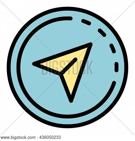 Gps Travel Car Pin Icon. Outline Gps Travel Car Pin Vector Icon Color Flat Isolated