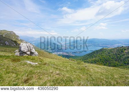 Lake Annone From Monte Cornizzolo Mountain, Lombardy, Italy